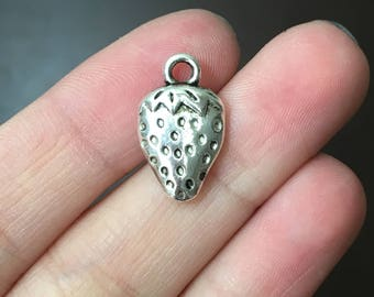 8 Silver Strawberry Charms Strawberry Charm Fruit Strawberries - SC0202
