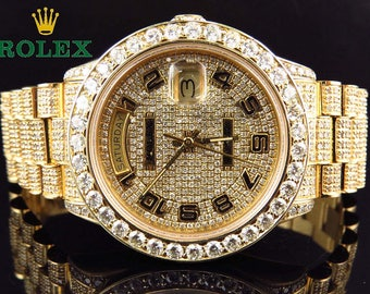 Iced Out 15Ct. Rolex Day Date 18kt Gold President 18038 Champagne Diamond Dial Wristwatch with Box and Appraisal COA  -   Bitcoin Accepted -