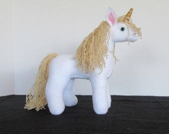 Plush Mini White and Gold Unicorn