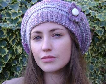 Crochet beret (pink and grey)