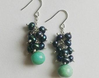 Metalic Pearl and Larimar Drop Earrings