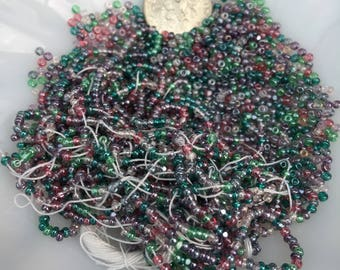 Seed Beads Pink and Green Strands and loose Jewelry Supply