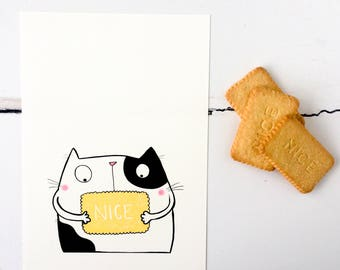 Nice Biscuit Cat Illustrated Print