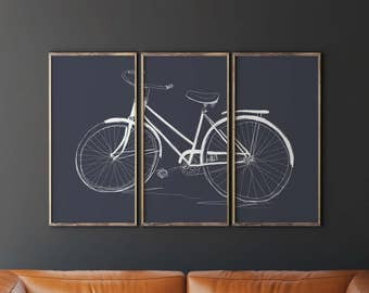 Printable Bicycle Art, Bicycle Wall Art, Bicycle Triptych, Navy Blue Wall Art, Living Room Decor, Printable Wall Decor, Living Room Wall Art