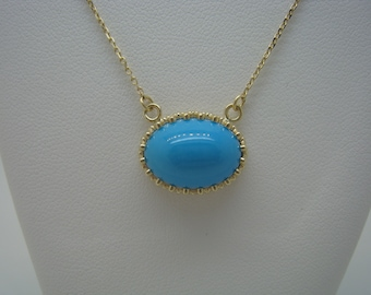 Sleeping Beauty Turquoise and 14kt Yellow Gold Necklace