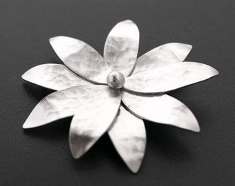 Flower brooch, wedding brooch, bridal brooch, sterling silver broach pin, flower pin, statement brooch pin, flower broach