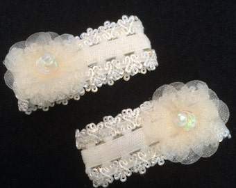 Pair of Ivory Lace Hair Clips