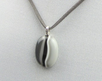Glass Pebble Pendant, grey striped fused glass pendant, pebble necklace