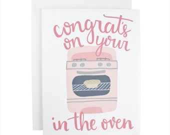 Congrats On Your Bun In The Oven baby greeting card, illustration, oven, new baby, baby girl, pink