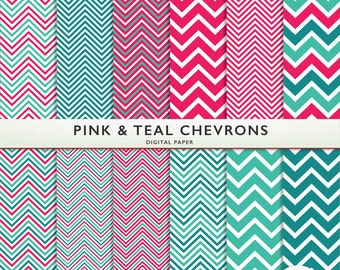 Pink Chevron Digital Paper -  Pink and Teal - 12 Sheets - Scrapbooking Instant Download & Printable G7022