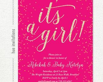 hot pink baby shower invitation, confetti it's a girl baby shower invite, printable baby sprinkle invitation, 5x7