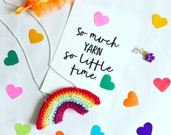 Crochet Rainbow Necklace