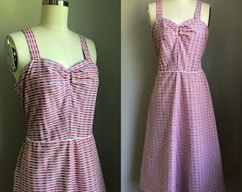 Vintage 1950's Pink and Black Cotton Sun Dress Sundress Size Small