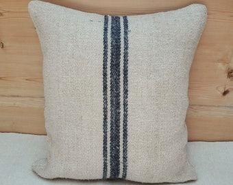 Authentic Grain Sack Pillow Cover / Antique linen / Navy Blue Stripes / Handwoven hemp fabric /Handmade Grainsack Pillow Sham