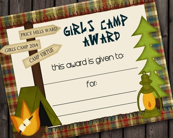 Girls camp, certificate, printable award certificate, INSTANT download at purchase, non customized, girls camp award