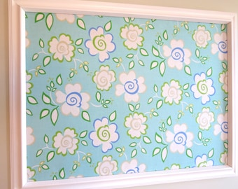 Teal Floral Framed Fabric covered Pinboard Jewelry Board Cork Board