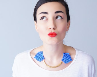 Blue Necklace Lace Necklace Gold Bar Necklace Arc Necklace Gift For Her GiftCustom/ DESERTES