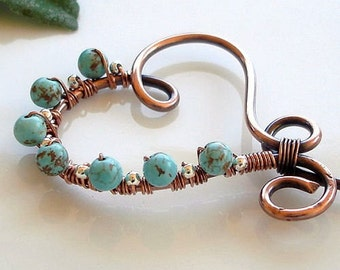 COPPER HEART - Handmade Copper Heart with Turquoise Gemstones and Sterling Silver Pin