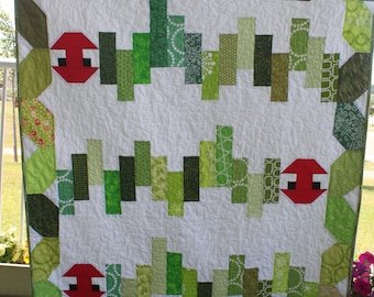 Scrappy Green Caterpillar Quilt PDF Pattern Cute Crib or Toddler Bed Quilt Scrap Buster Confident Beginner