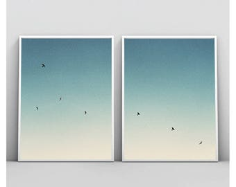 Flock Of Birds Flying, Diptych Photography, Seagulls Print, Printable Wall Art, Set Of 2 Prints, Kite Print, Photo, Poster, Digital Download