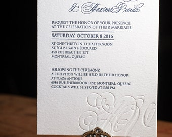 Letterpress Wedding Invitation, Letterpress RSVP card, Letterpress Wedding, Letterpress Menu, Letterpress Wedding Program, wishing well