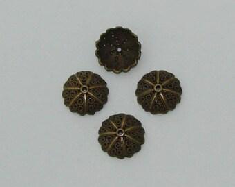 Cups 5 caps flower beads in antique bronze - Ref: CB