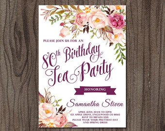 Tea Party Birthday Invitation, Tea Party Invitation, Floral Birthday Invitation, Printable Tea Party Invitation, High Tea Party