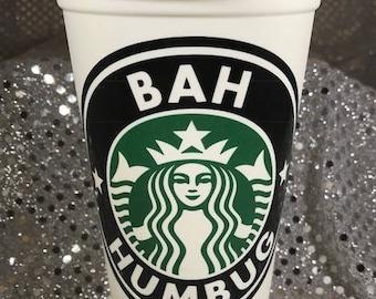 Ebenezer Scrooge Bah Humbug Personalized Customized Christmas Starbucks Cup