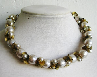 Vintage 40s Miriam Haskell Signed Baroque Pearl Rhinestone Choker Necklace