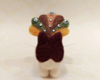 Thanksgiving Themed Needle Felted Kitten, Felted Kitty with Turkey Costume