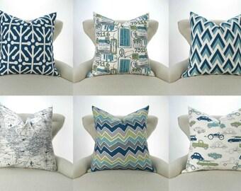Blue & Green Pillow Cover -MANY SIZES- Navy Blue Green Gray Travel Patterns, Decorative Throw, Euro Sham, Mix/Match Felix Premier Prints
