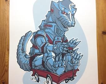 MECHAGODZILLA Poster - Kaiju, Monster Art, Godzilla Art, Mecha-Godzilla, Mecha Godzilla, Screen Print, Art Print