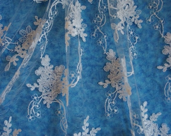 """White Bridal Lace Fabric, Embroidered lace fabric, wedding lace, 51"""" wide-Sold by the yard"""