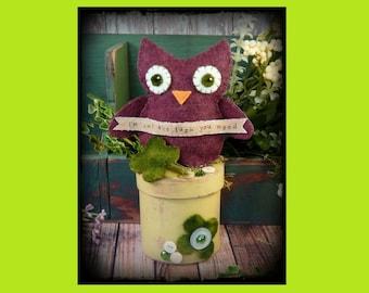Irish OWL make do Pattern PDF - St. Patricks day wool felt pincushion pin keep cushion prim doll primitive