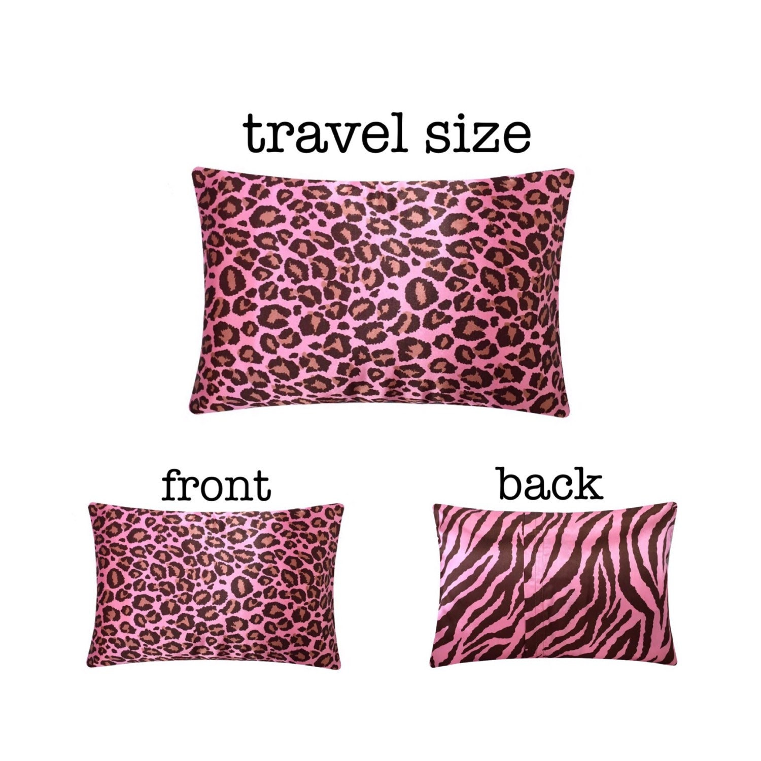 Pink Leopard Travel Pillow Satin Travel Pillow Washable