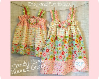 Candy Girl Tiered Dress - Baby Toddler Girls Easy PDF Dress Pattern Sizes 0-3, 3-6, 6-12, 18 months, 2, 3, 4, 5, 6, 7, 8