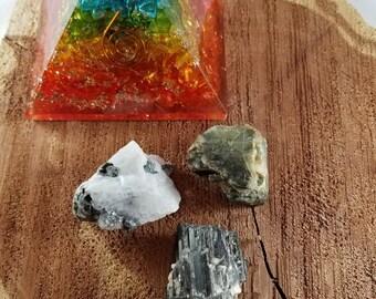 Phases of the Moon Crystal Set: Rainbow Moonstone, Black Moonstone, Black Tourmaline! ~Witch, Mystic, Crystal Grid