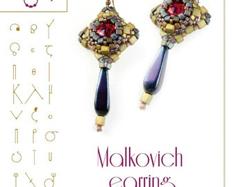 Beading tutorial Earring tutorial / pattern Malkovich earring..PDF instruction for personal use only
