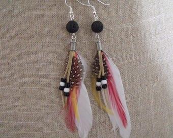 CLEARANCE black feather bead earrings