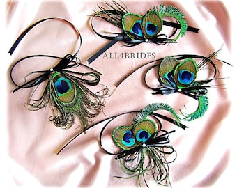 Peacock Wedding Decorations, four peacock feather embellishments for your your wedding cake set and toasting flutes