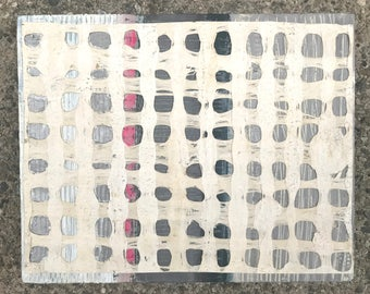 Zen Color Study #15 - Original  Painting on Wood -Mixed Media on Textured Japanese Handmade Paper-White-Gray-Hot Pink-