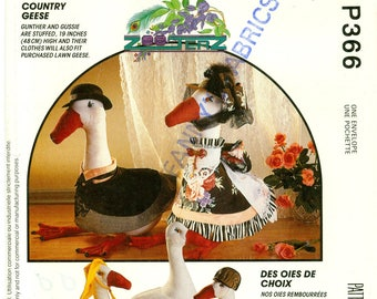 """McCalls P366 / 5736 Zooterz COUNTRY GEESE 9"""" Seated Goose Doll and Clothes Pattern, Stuffed Animal Sewing Pattern, UNCUT, c.1992"""