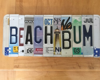 Beach Bum license plate art
