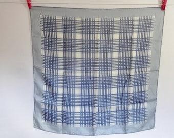 Vintage Blue Silk Scarf Geometric checkered 66cm x 67cm