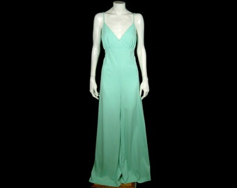 Flowy bright mint green spaghetti strap top jumpsuit ~ Small 34 ~ 4 6 ~ 1960s 1970s palazzo wide leg pants ~ ruched bust ~ poly jersey