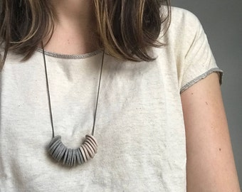 Adjustable Grey & Beige Disc Necklace