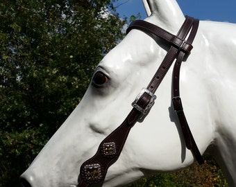 Fringed Breast Collar and Bridle Tack Set - Dark Brown With Copper/Gold Fringe