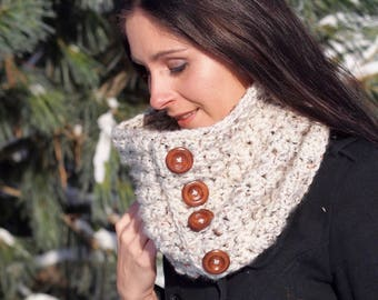 Handmade Chunky Button Cowl, Textured Cowl, Crochet Scarf - The Lilah