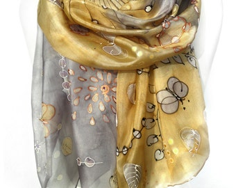 Gold Silver Scarf. Hand Painted Silk Shawl. Echarpe Foulard. Whimsical Shawl for Dress. Gift for Her. 18x71 in. MADE to Order