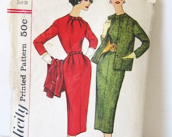 50s Vintage Sheath Dress & Jacket Set, Simplicity 2219 Sewing Pattern UNCUT, Fitted Wiggle Dress + Blazer, Business Day Dated 1957, Bust 36